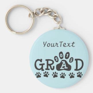 Personalized GRAD 2015 Light Blue PAWS Graduation Basic Round Button Keychain