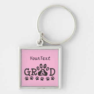 Personalized GRAD Class 2014 Keychain - PAWS Pink