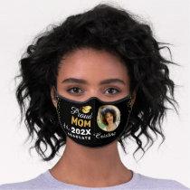 Personalized Grad Photo Modern Black Graduation Premium Face Mask