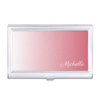 Personalized gradient ombre salmon pink business card holder