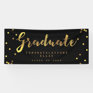 Personalized Graduate Faux Gold Confetti Black Banner