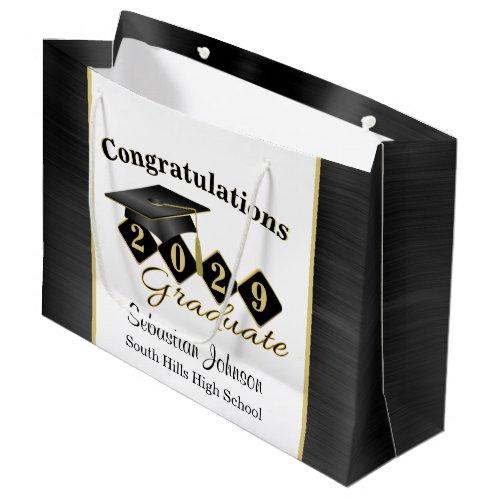 Personalized Graduation Black & Gold Large Gift Bag