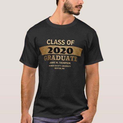 Personalized Graduation gold black Class of 2020 T_Shirt