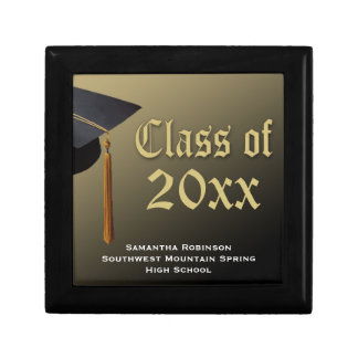 Personalized Graduation Keepsake Box, Black/Gold Jewelry Box