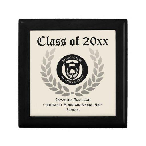 Personalized Graduation Keepsake Box, Cream/Black