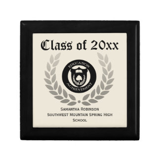 Personalized Graduation Keepsake Box, Cream/Black Jewelry Box