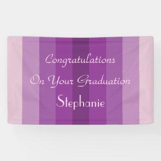 Personalized Graduation Sign Purple Stripes Banner
