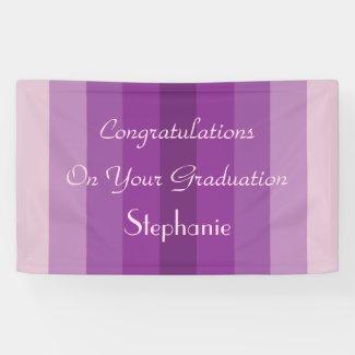 Personalized Graduation Sign Purple Stripes