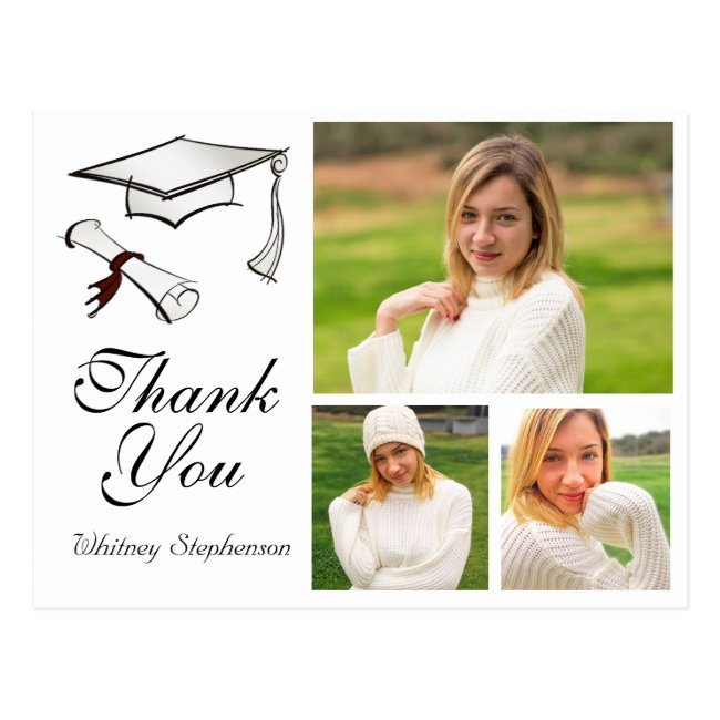 Personalized Graduation Thank You Card 3 Photos