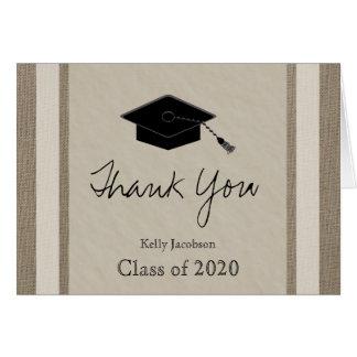 Personalized Graduation Thank You Card -- Burlap