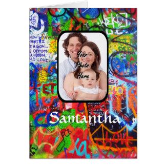 Personalized graffiti greeting card