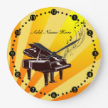 Personalized Grand Piano Notes Yellow and Gold Round Wall Clock