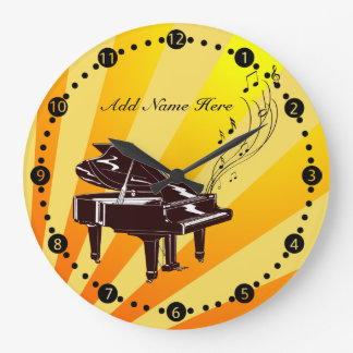 Personalized Grand Piano Notes Yellow and Gold Large Clock