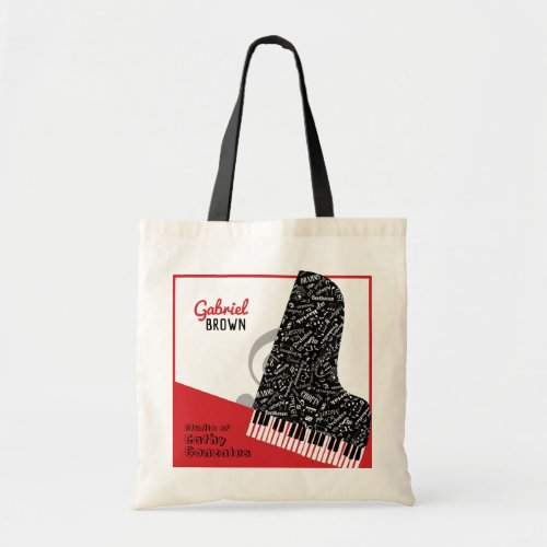 Personalized Grand Piano Student Teacher Red Tote Bag