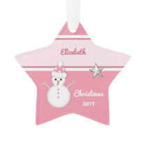 Personalized Grandchild Christmas snowman pink Ornament