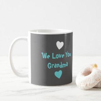 Personalized Grandma Photo turquoise gray Coffee Mug