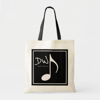 personalized graphic music note on black tote bag
