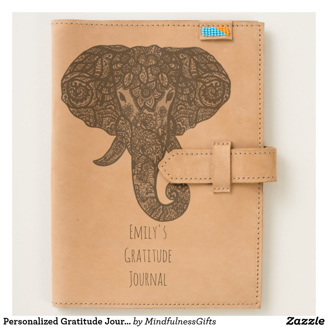 Personalized Gratitude Journal Henna Elephant Gift