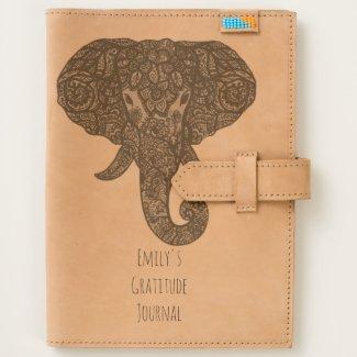 Personalized Gratitude Journal Henna Elephant Gift