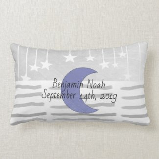 Personalized Gray and Blue Moon and Stars Pillow