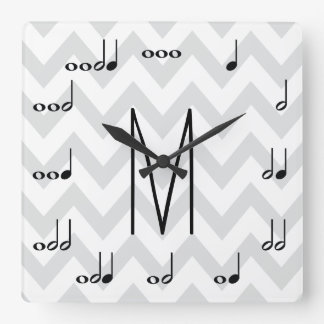Personalized Gray and White Chevron Musical Notes Square Wall Clock