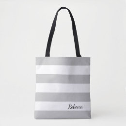 Personalized Gray and White Striped Tote