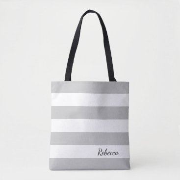 The_Happy_Nest Personalized Gray and White Striped Tote