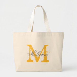 Personalized gray and yellow monogram tote bags