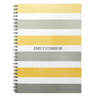 Personalized Gray and Yellow Wide Stripes Notebook