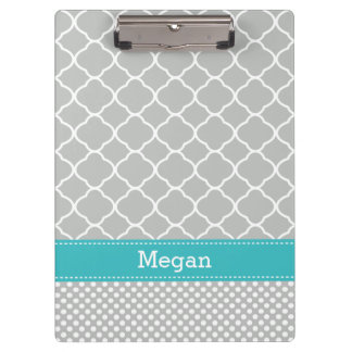 Personalized Gray Aqua Dots Quatrefoil Clipboard