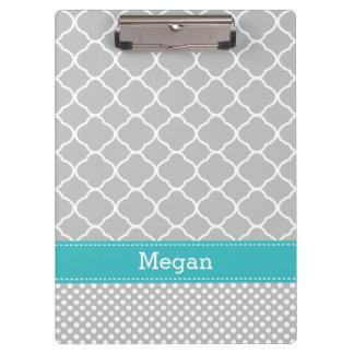Personalized Gray Aqua Dots Quatrefoil Clipboard
