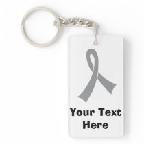 Personalized Gray Awareness Ribbon Keychain