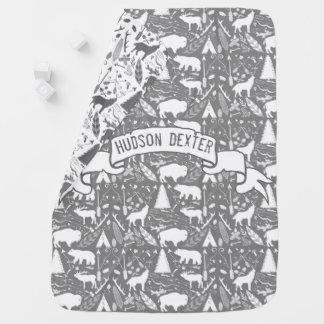 Personalized Gray Baby Boy Antlers with Rack Stroller Blanket