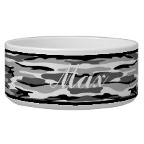 Personalized Gray & Black Camouflage Pet Bowl