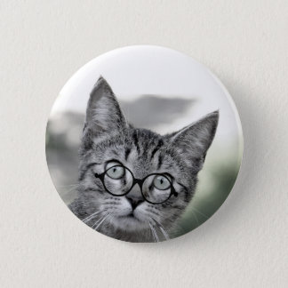 Personalized Gray Cat with Glasses Button