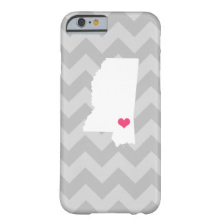Personalized Gray Chevron Mississippi Heart Barely There iPhone 6 Case