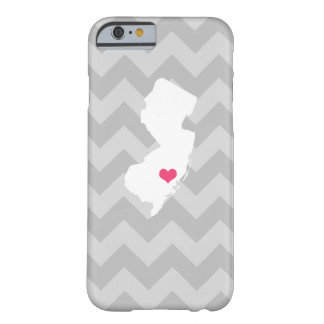 Personalized Gray Chevron New Jersey Heart Barely There iPhone 6 Case