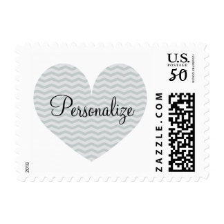 Personalized gray chevron pattern heart stamps