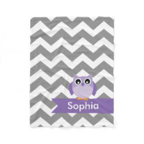 Personalized Gray Chevron Purple Owl Fleece Blanket