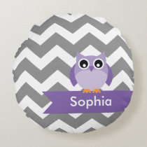 Personalized Gray Chevron Purple Owl Round Pillow
