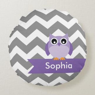 Personalized Gray Chevron Purple Owl Round Pillow