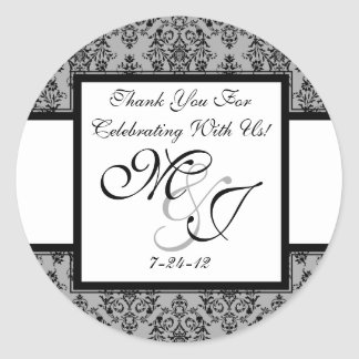Personalized Gray Damask Wedding Favor Labels Classic Round Sticker