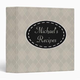 Personalized Gray Kitchen Recipe Binder Gift
