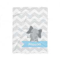 Personalized Gray Light Blue Chevron Elephant Fleece Blanket