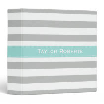 Personalized Gray Mint Wide Stripes School Binder