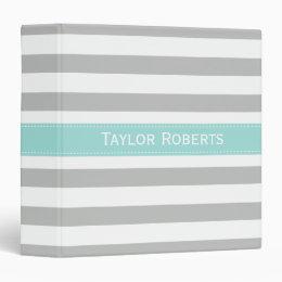 Personalized Gray Mint Wide Stripes School Binder