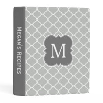 Personalized Gray Monogram Quatrefoil Recipe Mini Binder