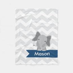 Personalized Gray Navy Blue Chevron Elephant Fleece Blanket