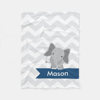 Personalized Gray Navy Blue Chevron Elephant Fleece Blanket