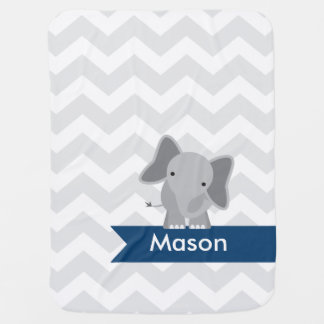 Personalized Gray Navy Blue Chevron Elephant Swaddle Blanket